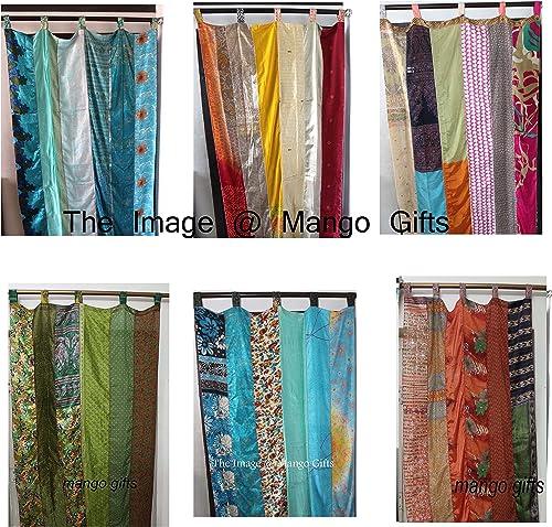 Mango Gifts India Old Sari Multicolor Curtain Door Drape 6 Pieces Lot Assorted