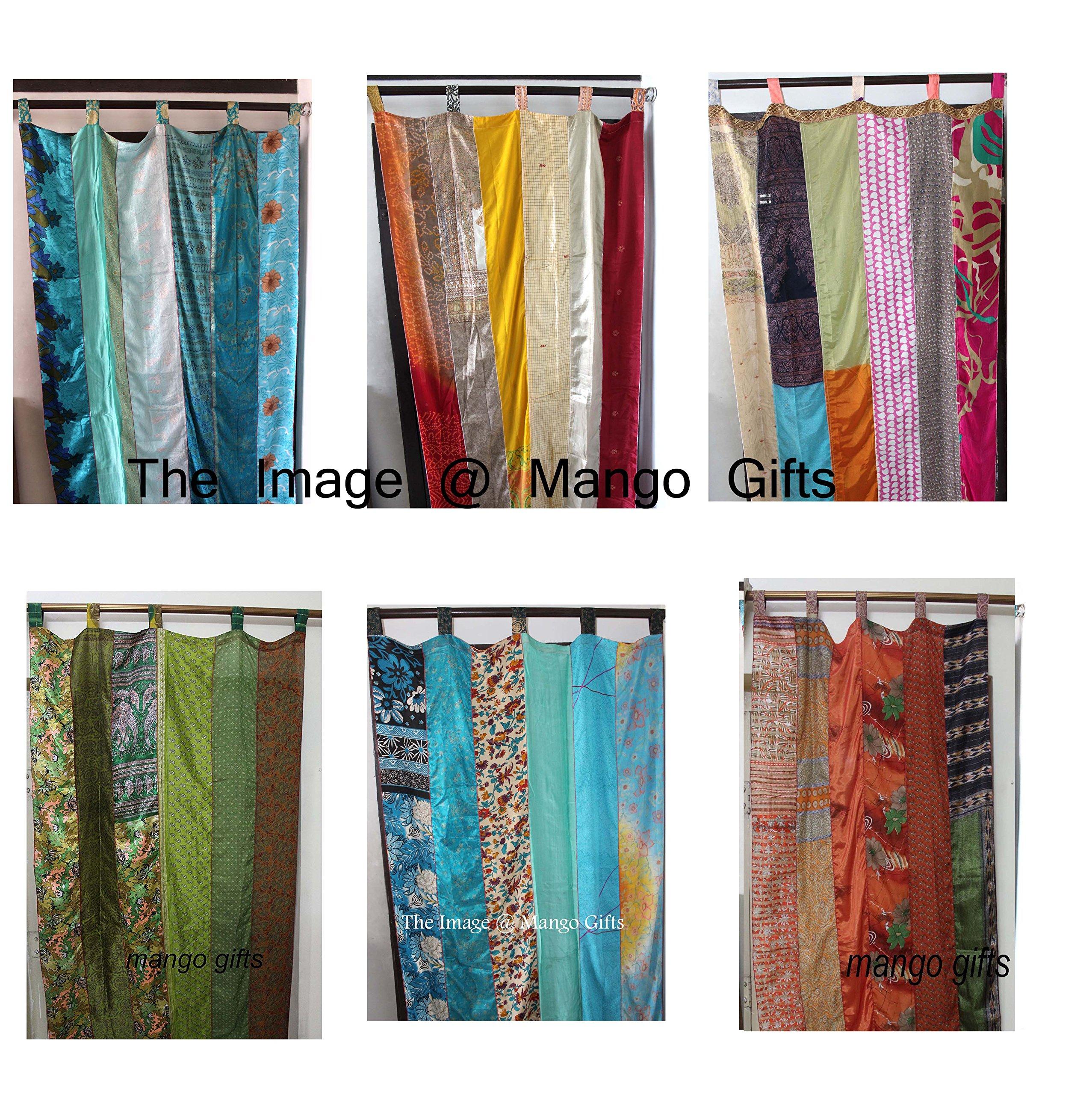 India Old Sari Multicolor Curtain Door Drape 6 Pieces Lot ( Assorted )