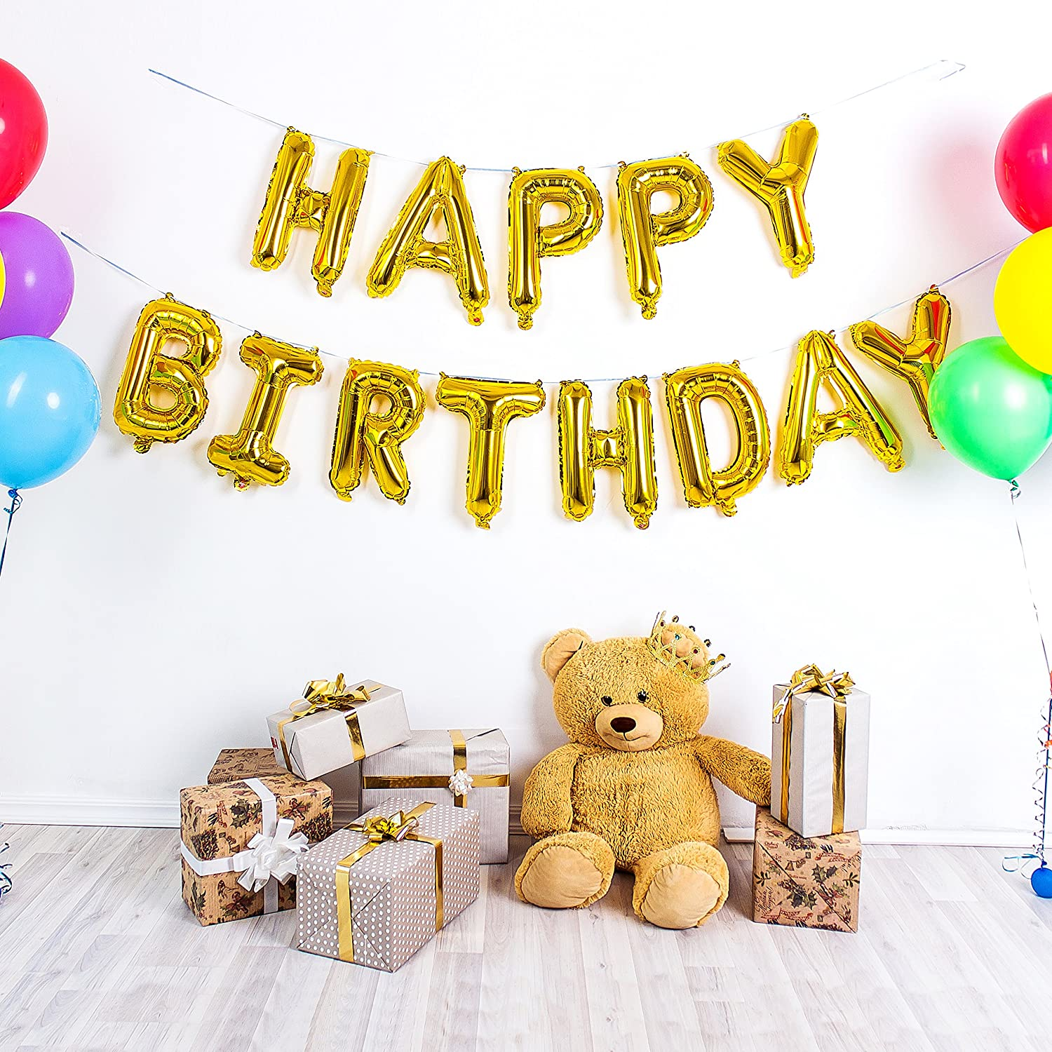 Teddy King Premium Gold Happy Birthday Balloons Banner With Durable Foil 16 Inch Mylar 13 Individual Balloon Letters Stronger Seal For Longer Life