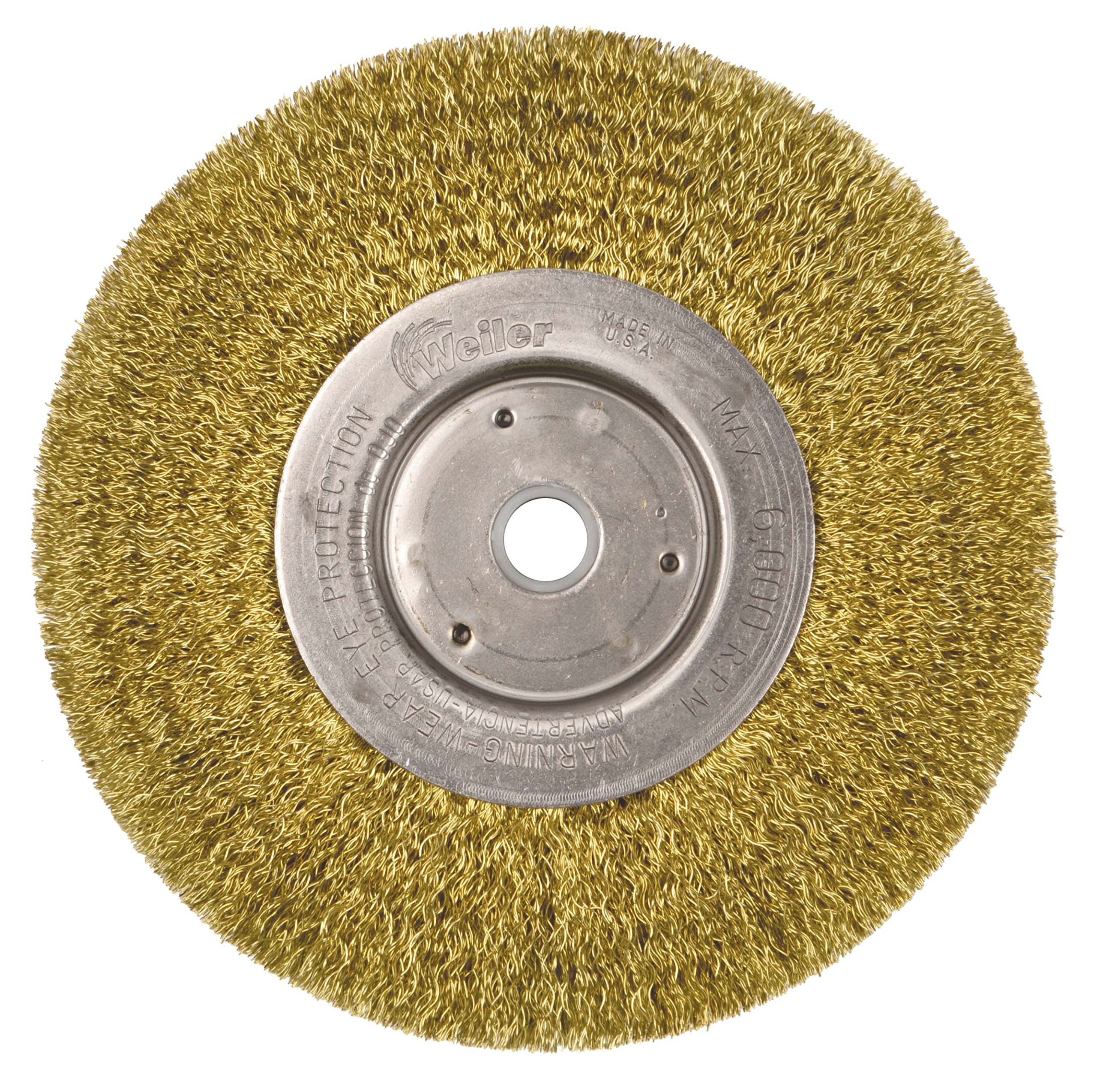 Weiler 1475 Narrow Face Crimped Wire Wheel, 6'', 0.118'' Brass Fill, 5/8''-1/2'' Arbor Hole (Pack of 2)