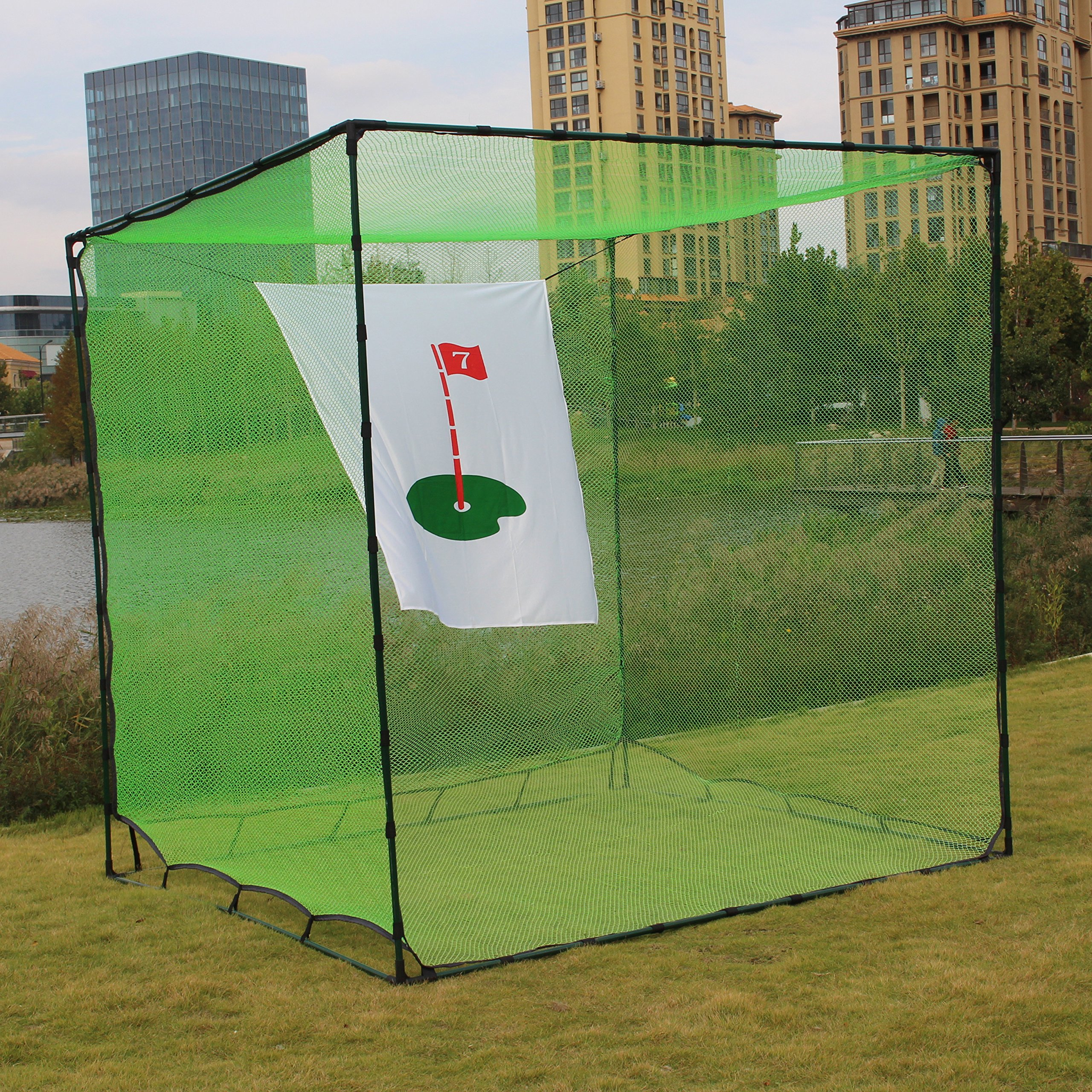 300 X 300 X 300 cm / 10' X 10' X10' Golf Batting Cage double backstop and target /Golf Hitting Cage Target Net,Heavy Duty Net with Target Automatic Ball Return Practice in Backyard