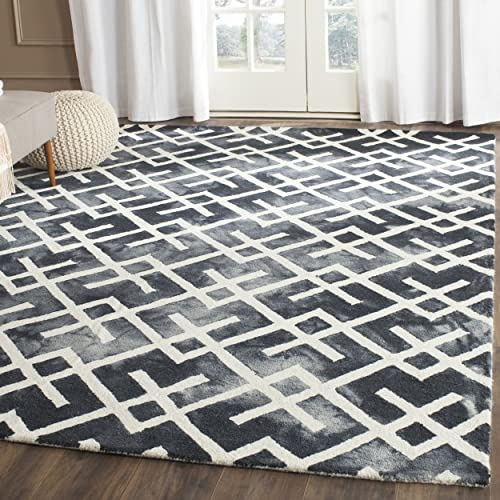 Safavieh Dip Dye Collection DDY677J Handmade Geometric Watercolor Graphite and Ivory Wool Area Rug 8 x 10