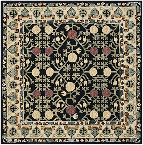 Safavieh Heritage Collection Premium Wool Square Area Rug, 6 , Navy Ivory
