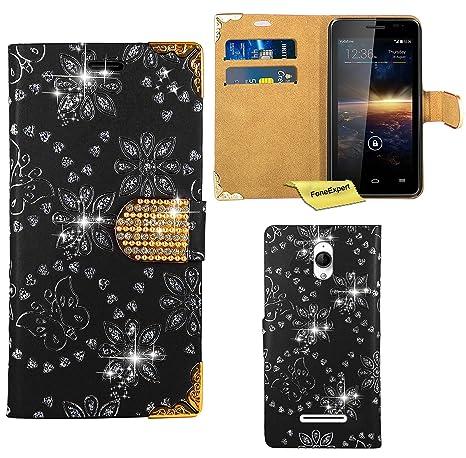 Vodafone Smart 4 Turbo Funda, FoneExpert® Diamante Bling Wallet Flip Billetera Carcasa Cover Case