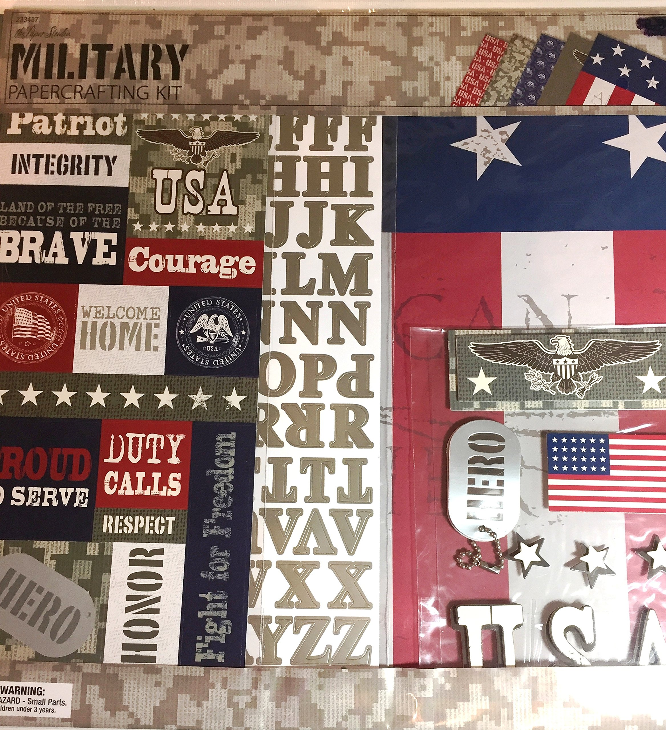 Military 12x12 Scrapbooking Page Kit, 13 pcs. Hero, USA, Brave, Courage, Duty Calls