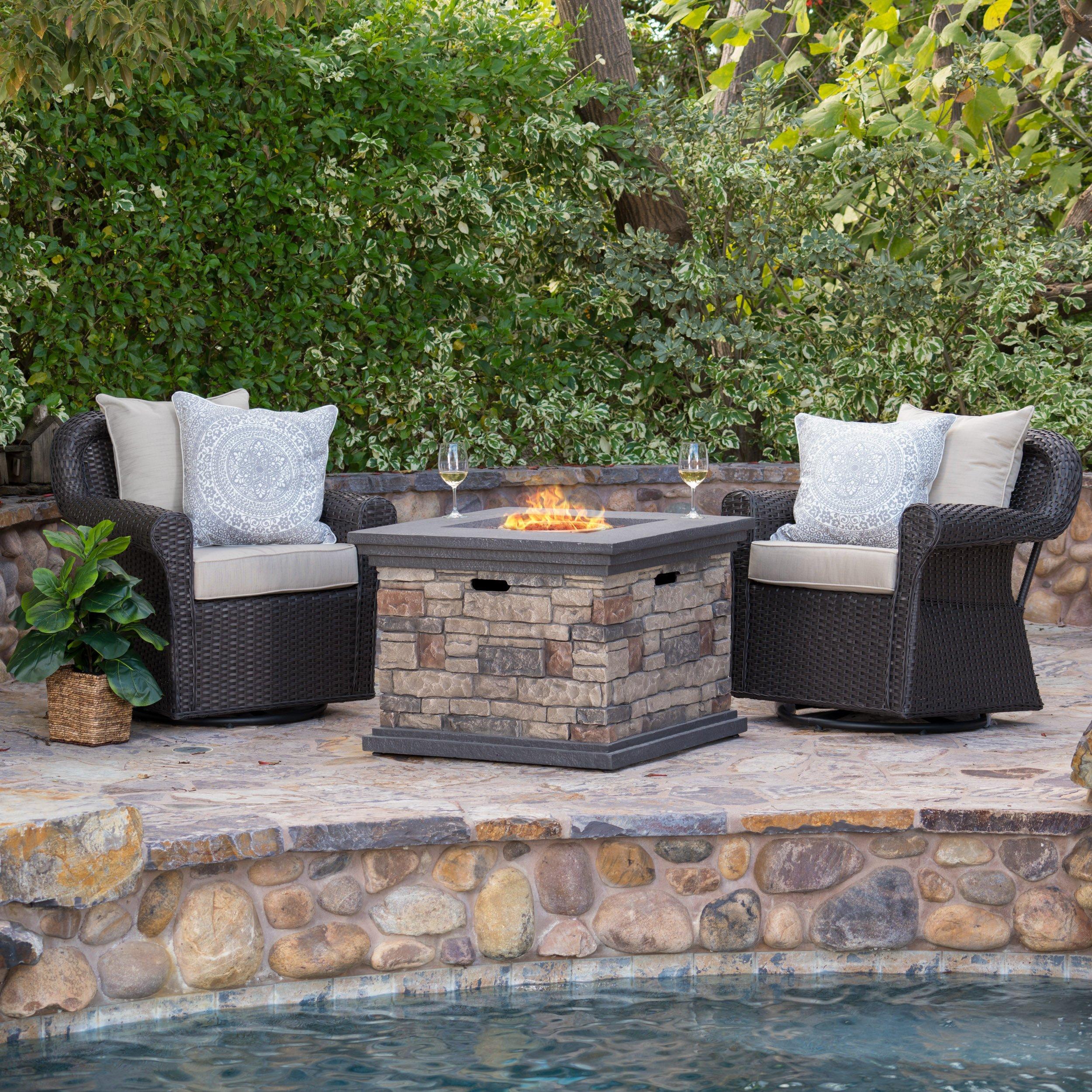 Augusta Patio Furniture ~ 3 Piece Outdoor Wicker Swivel Rocker and Propane (Gas) Fire Table (pit) Set
