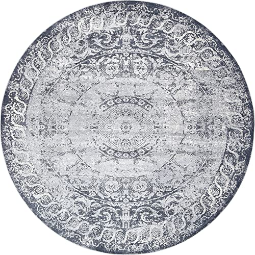 Unique Loom Chateau Collection Distressed Vintage Traditional Textured Dark Blue Round Rug 8 0 x 8 0