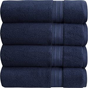 """Bloom Bath Towels Zero Twist Cotton (27"""" x 54"""") – 600 GSM Premium Bath Towel Set Highly Absorbent Pima Cotton Ultra Soft and Quick Dry Luxury Spa Towels (Navy, 4 Pack)"""