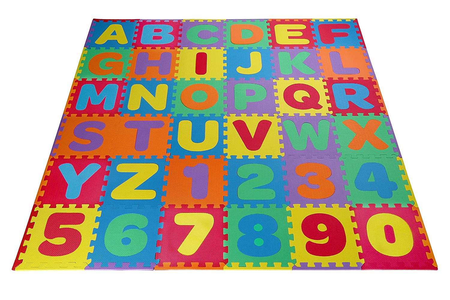 Amazon toydaloo eva kids foam play alphabet abc plus numbers amazon toydaloo eva kids foam play alphabet abc plus numbers puzzle mat plus 24 border edges includes reusable carrying bag with handle dailygadgetfo Images