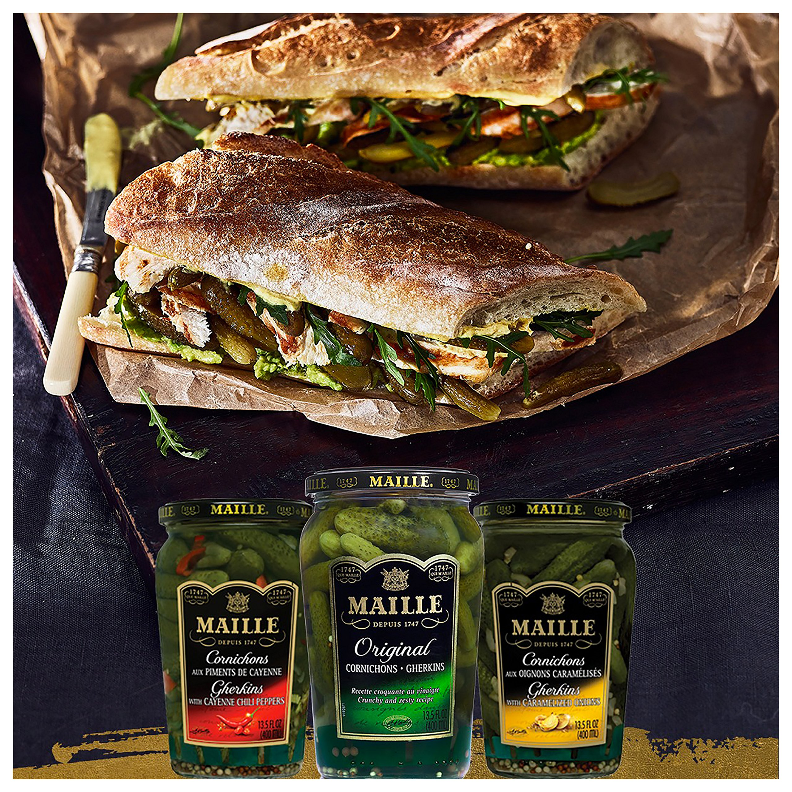 Maille Pickles, Cornichons Original, 13.5 oz, Pack of 12 by Maille (Image #5)