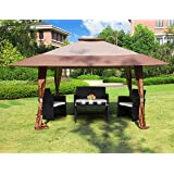 Cloud Mountain 13' x 13' Outdoor Patio Easy Pop-Up Double Roof Gazebo Canopy Tent, Resist Light Rain UV Protected Vented Gazobo for Party Event, Brown Tan