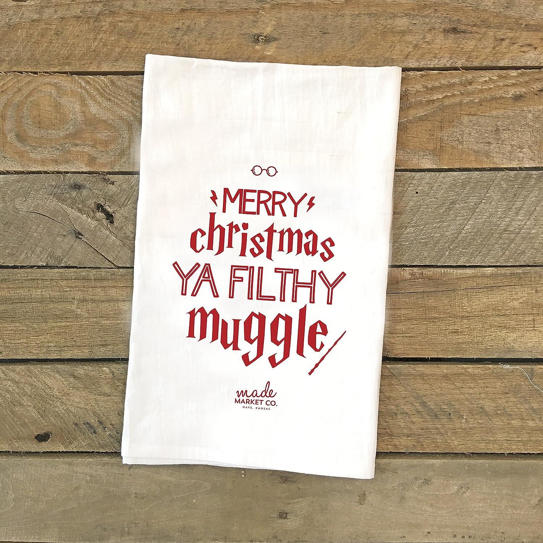 Harry Potter Christmas Gifts.Amazon Com Merry Christmas You Filthy Muggle Tea Towel