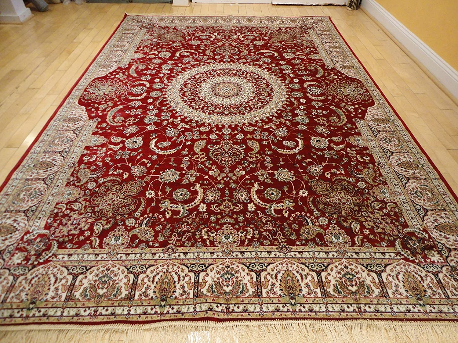 Import persian silk ivory area rugs 8x12 red living room rug for Living room rugs amazon