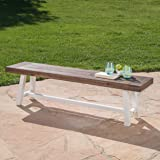 Great Deal Furniture Cassie Outdoor Dark Brown Sandblast Finish Acacia Wood Dining Bench with White Rustic Metal Finish Frame