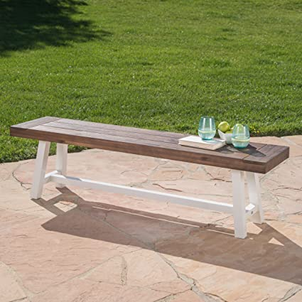 Great Deal Furniture Cassie Outdoor Dark Brown Sandblast Finish Acacia Wood  Dining Bench With White Rustic