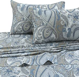 Tribeca Living PAPARK4PSSQU 300 TC Cotton Deep Pocket Sheet Set, Queen, Paisley Park Multi