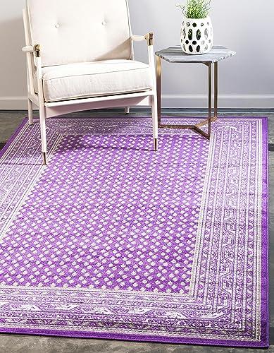Unique Loom Williamsburg Collection Traditional Border Violet Area Rug 8' 0 x 10' 0