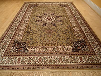 Amazon Com Luxury Silk Gold Rug Traditional Area Rugs Persian