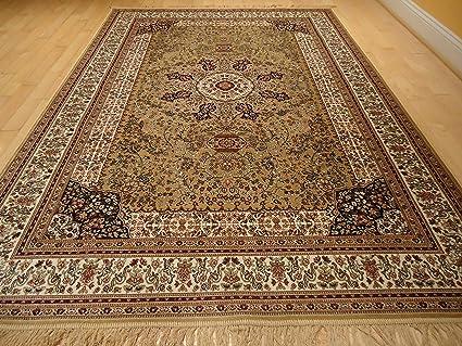 Amazon Com Luxury Silk Gold Rug Traditional Area Rugs Persian