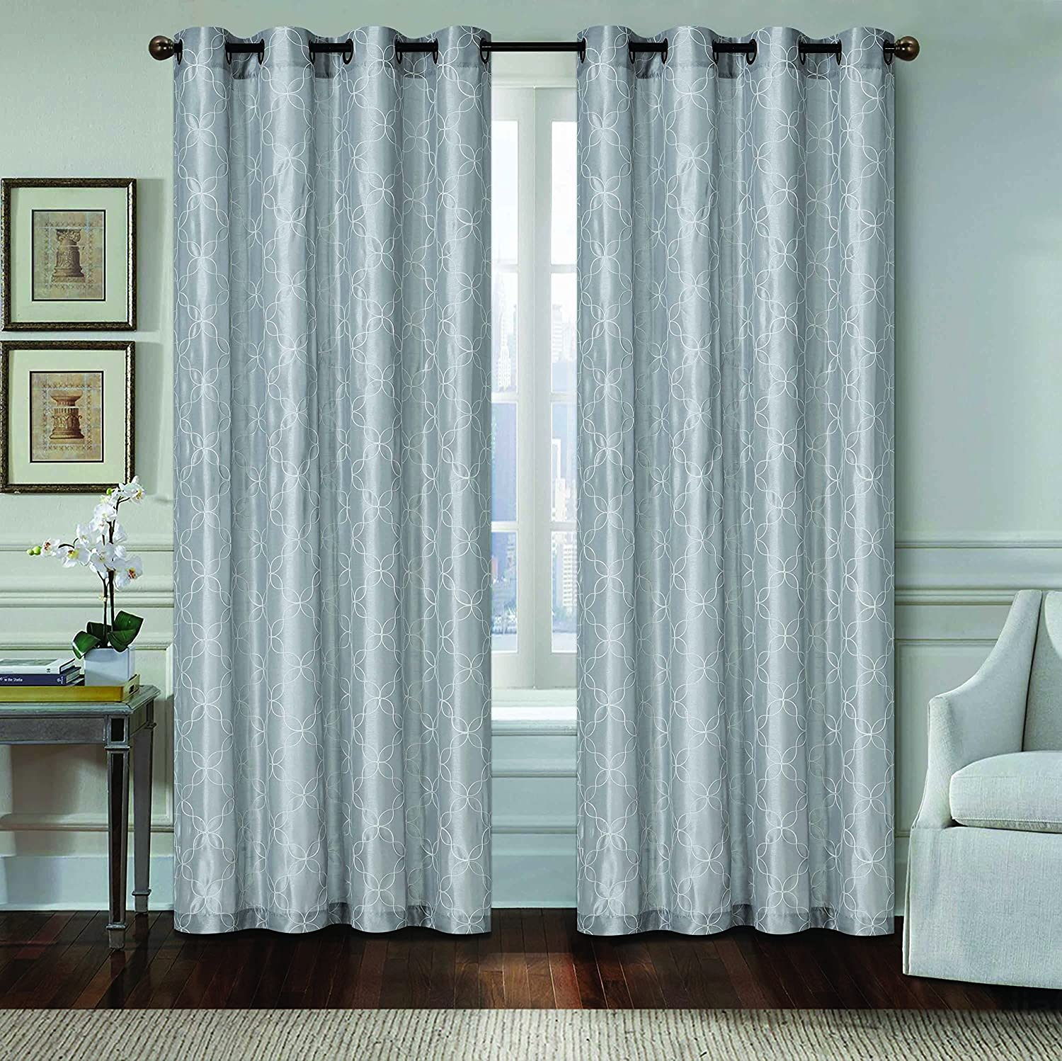 Geometric Design Faux Silk Embroidered Curtain With Grommets (GREY