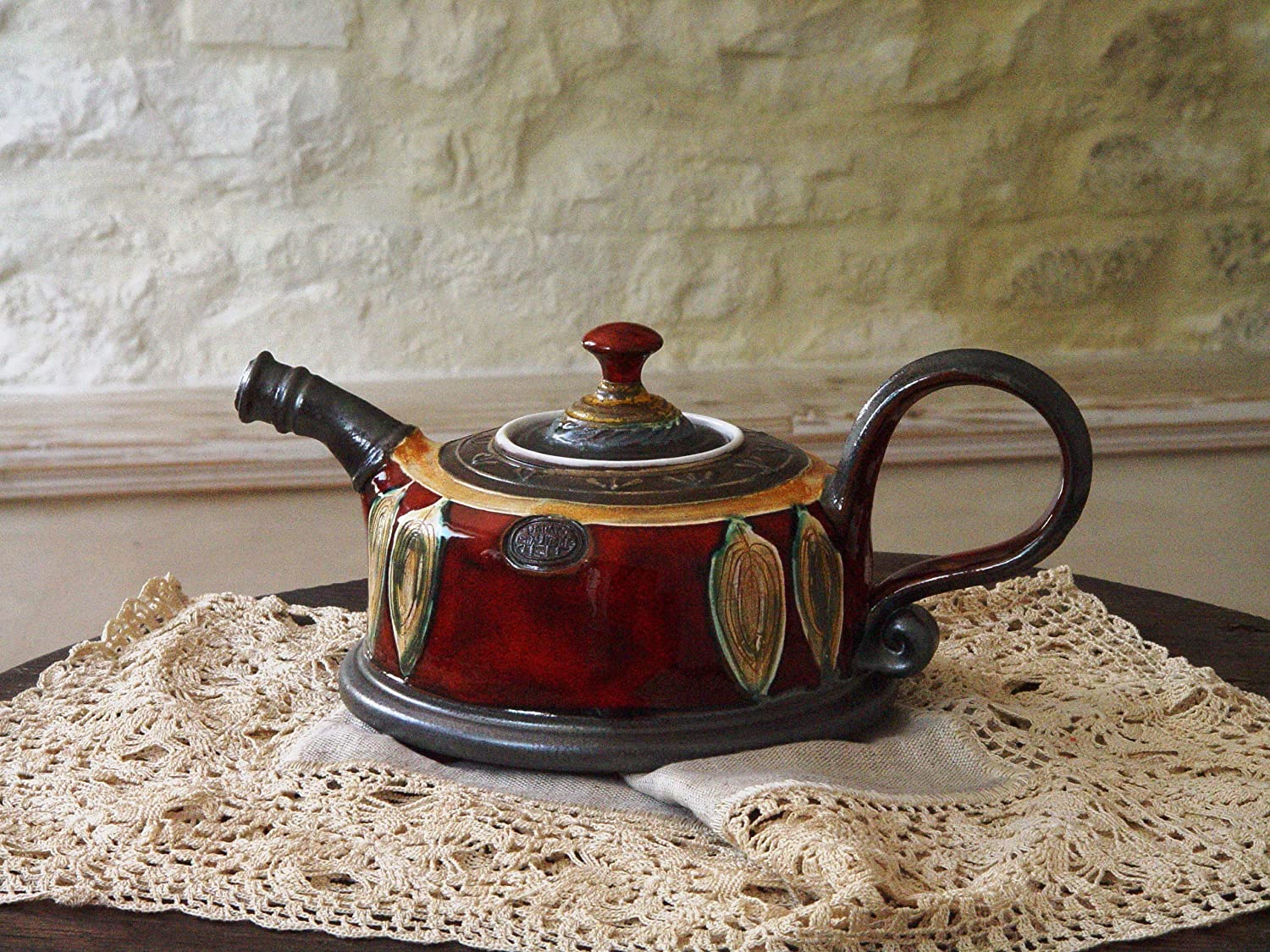 Wheel Thrown Hand Painted Ceramic Teapot
