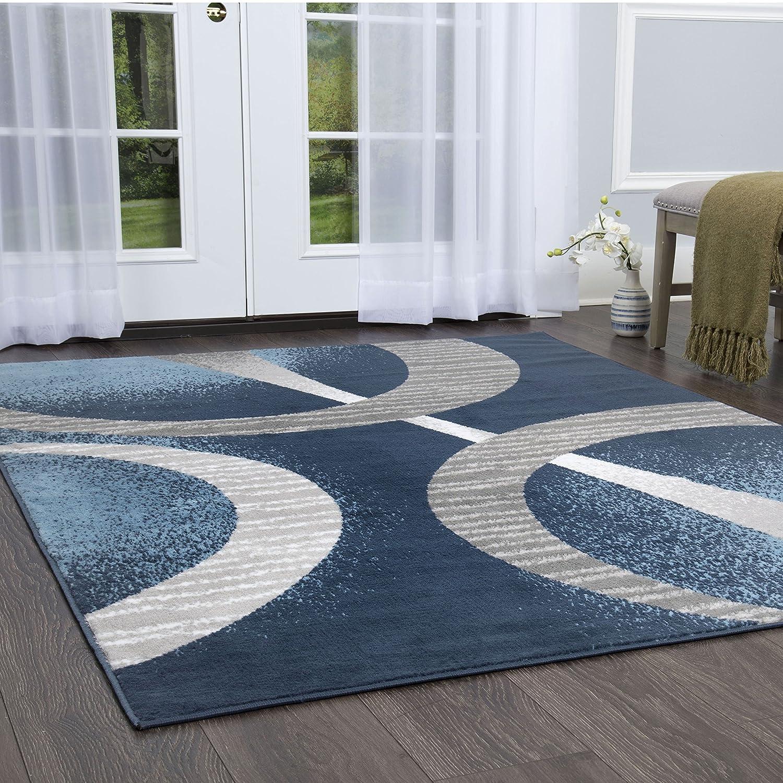 "Home Dynamix Lyndhurst Melia Area Rug 7'8""x10'7"", Modern Abstract Midnight Blue/Gray"