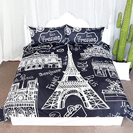 Paris Eiffel Tower Collage Scene Duvet Cover Set 3 Pieces Chic Black And White French Style