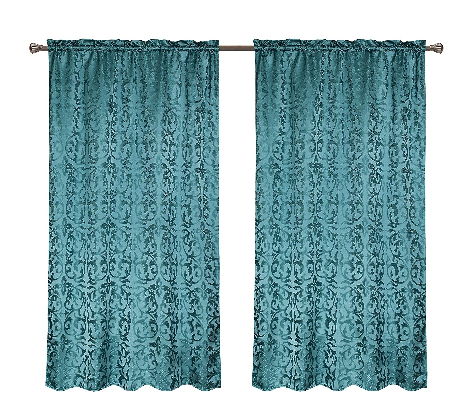 Pack 2 CaliTime Window Curtains Panels Damask Vintage Floral 56 X 84 Inches Teal