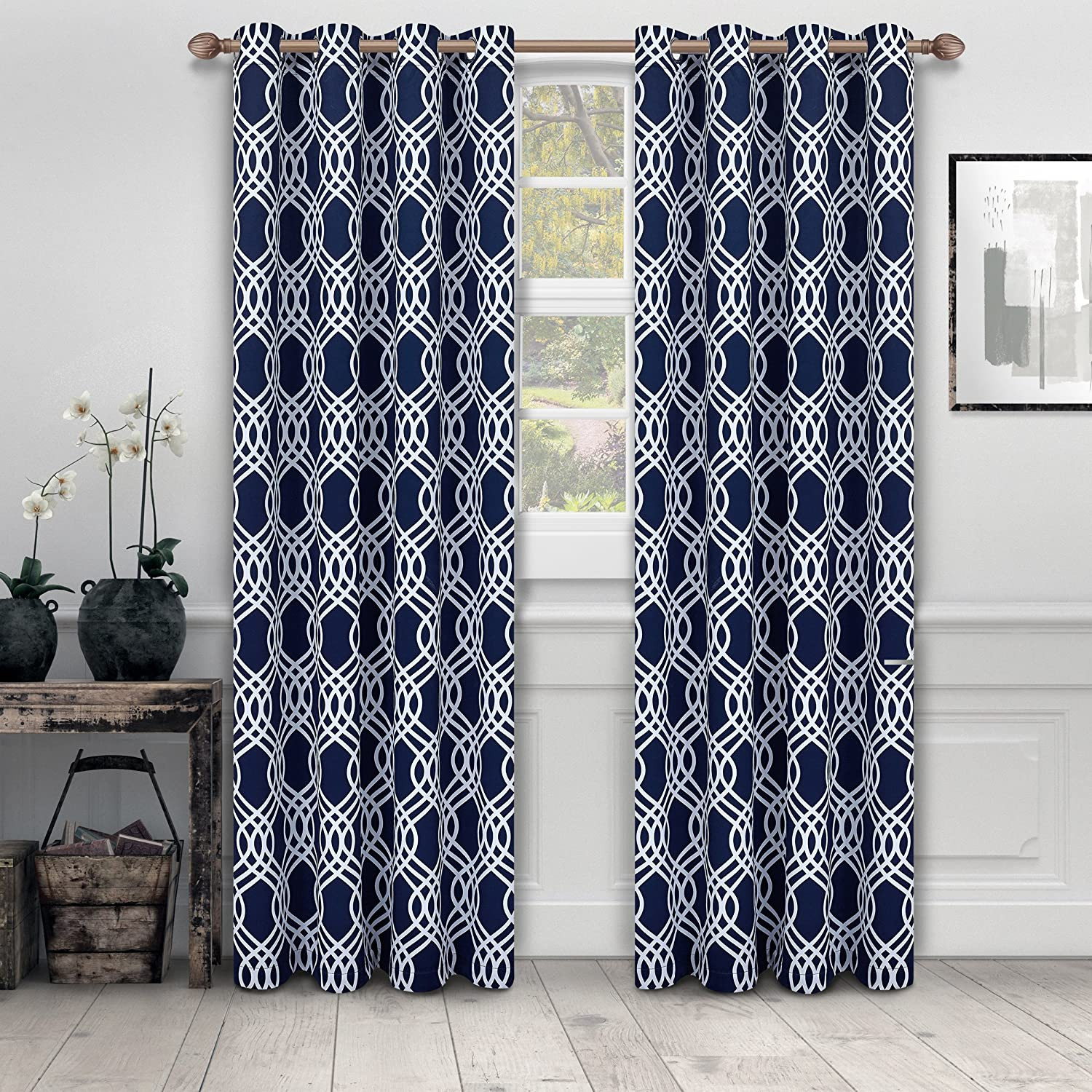 "Superior Ribbon Collection Quality Soft, Insulated, Thermal, Woven Blackout Grommet Printed Curtain Panel Pair (Set Of 2) 52"" x 108"" - Navy Blue"