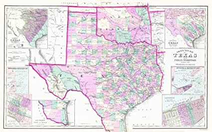 Amazon.com: Old State Map - Texas and Oklahoma Indian Territory ...