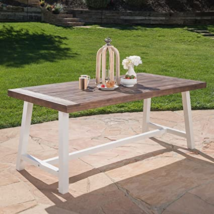 Great Deal Furniture Cassie Outdoor Dark Brown Sandblast Finish Acacia Wood  Dining Table with White Rustic Metal Finish Frame