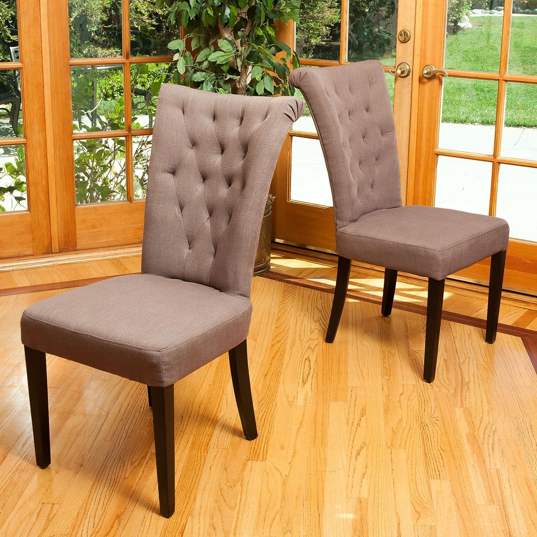Amazon Juliette Mocha Fabric Dining Chairs Set of 2