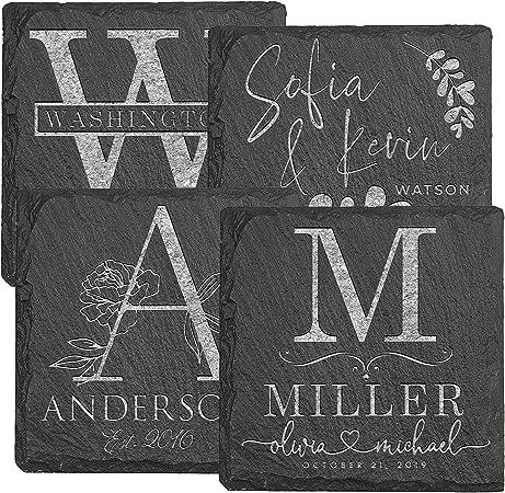 Posavasos personalizados – 4 piezas de piedra de pizarra 10,16 cm, regalos de aniversario para parejas – regalos de boda: Amazon.es: Hogar