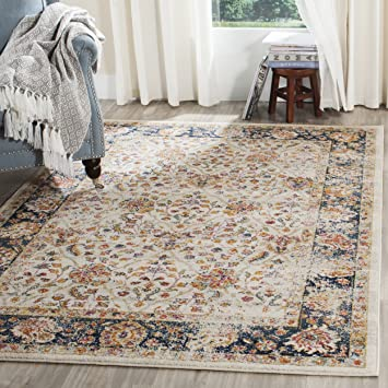 7b28d593726 Safavieh Madison Collection MAD609D Cream and Navy Bohemian Chic Distressed  Oriental Area Rug (4