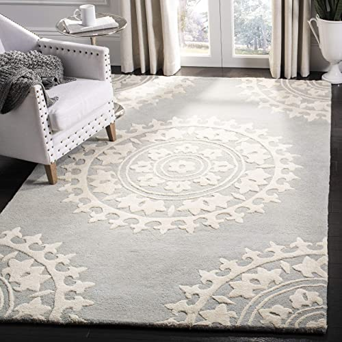 Safavieh Soho Collection SOH732K Handmade Light Grey and Ivory Premium Wool Mandala Area Rug 11' x 15'