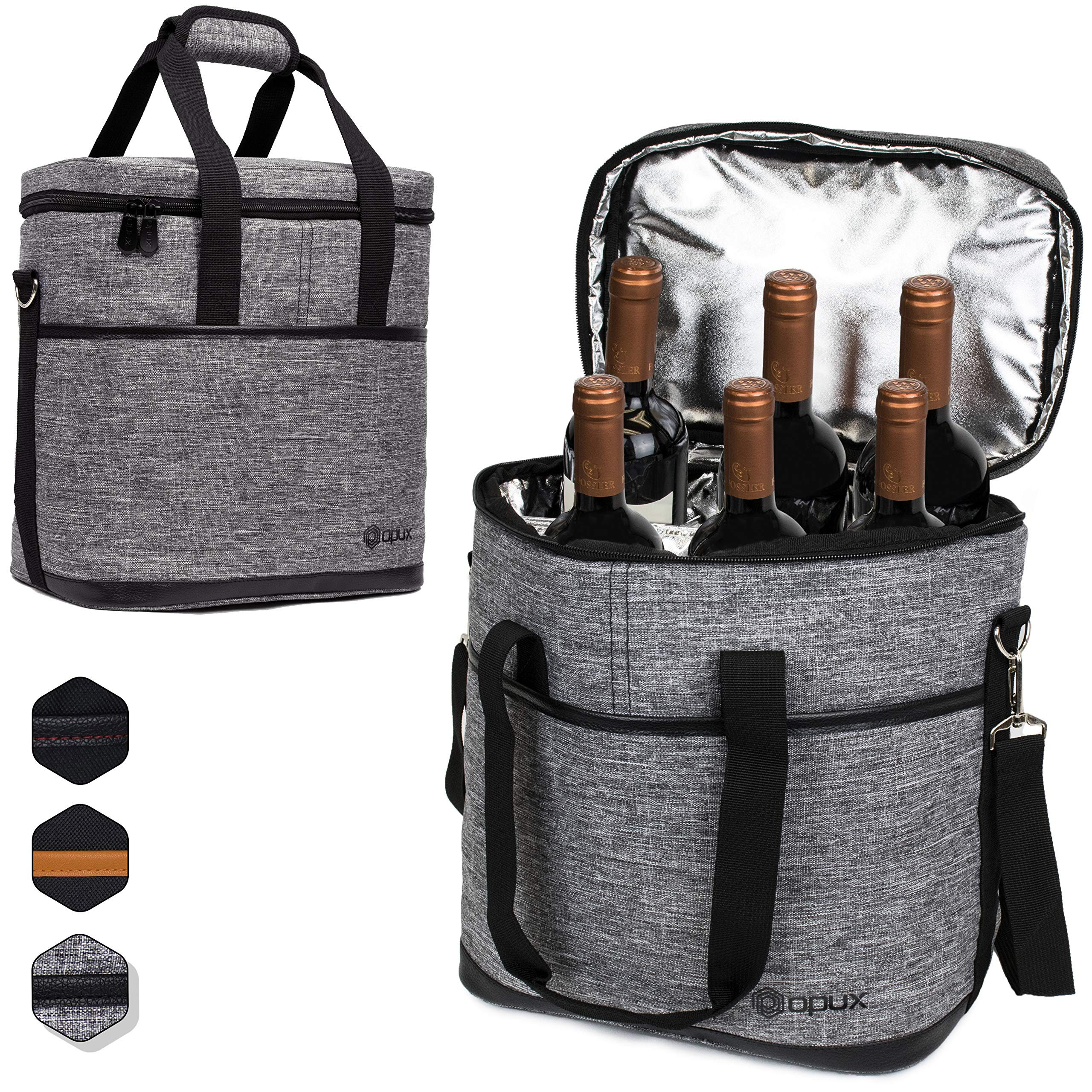 cc1b292d489a Details about Premium Insulated 6 Bottle Wine Carrier Tote Bag | Wine  Travel Bag with Shoulder
