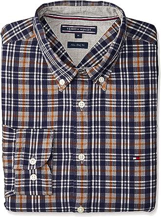TOMMY HILFIGER Camisa de manga larga, cheque, botón abajo, New York fit, hombre: Amazon.es: Ropa y accesorios