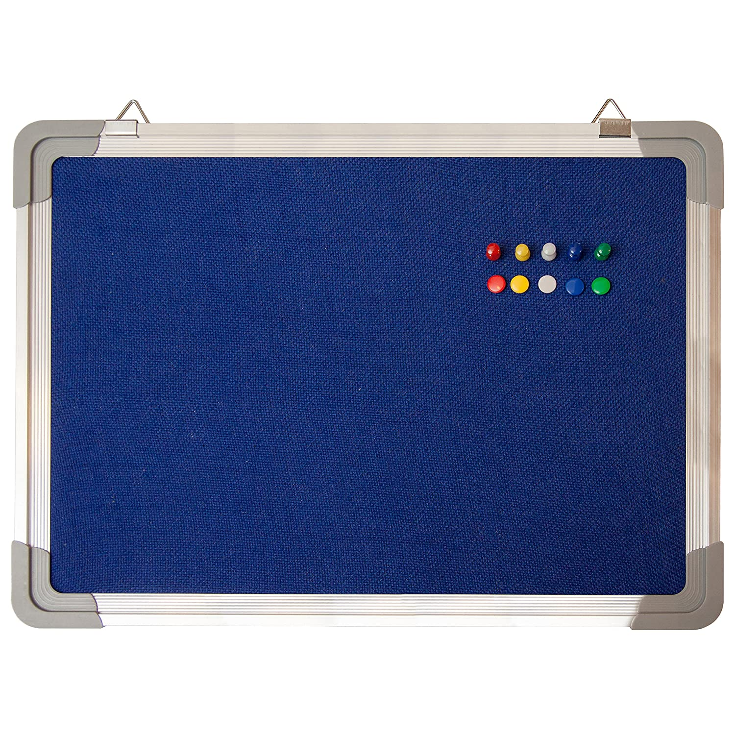 Bulletin Board Set - Cork Board 24 x 18 + 10 Color Pins - Small Wall Hanging Tack Message Memo Picture Board for Home Office School Cubicle - Presentation, Display and Planning (Cork 24x18) Navy Penguin Bulletin Board NP37795388
