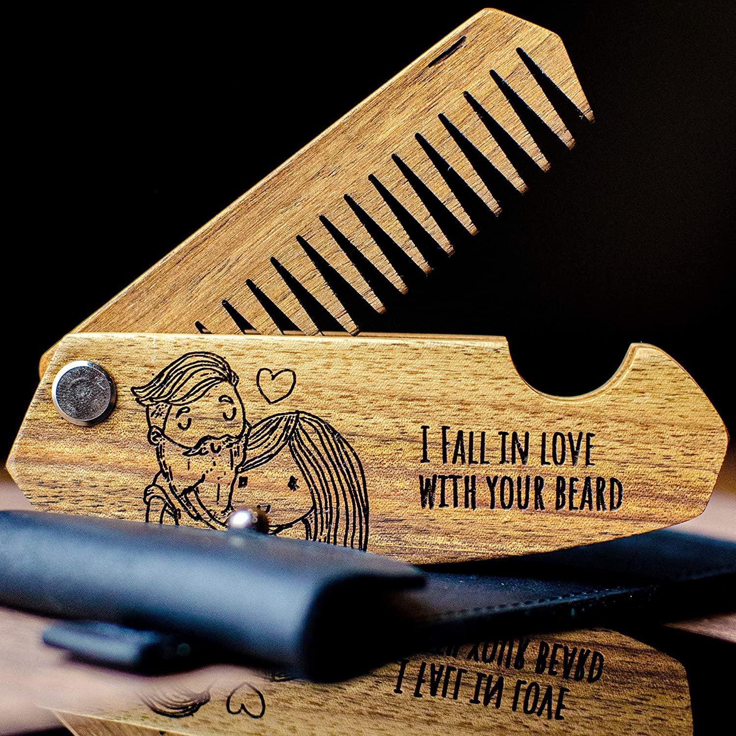 Wooden Beard Comb for Men Personalized Folding Pocket Comb for Moustache Beard & Hair Walnut Combs with Engraving
