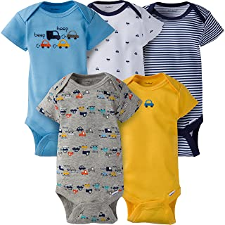 Gerber Baby Boys' 5-Pack Variety Onesies Bodysuits, Little Cars, 0-3 Months