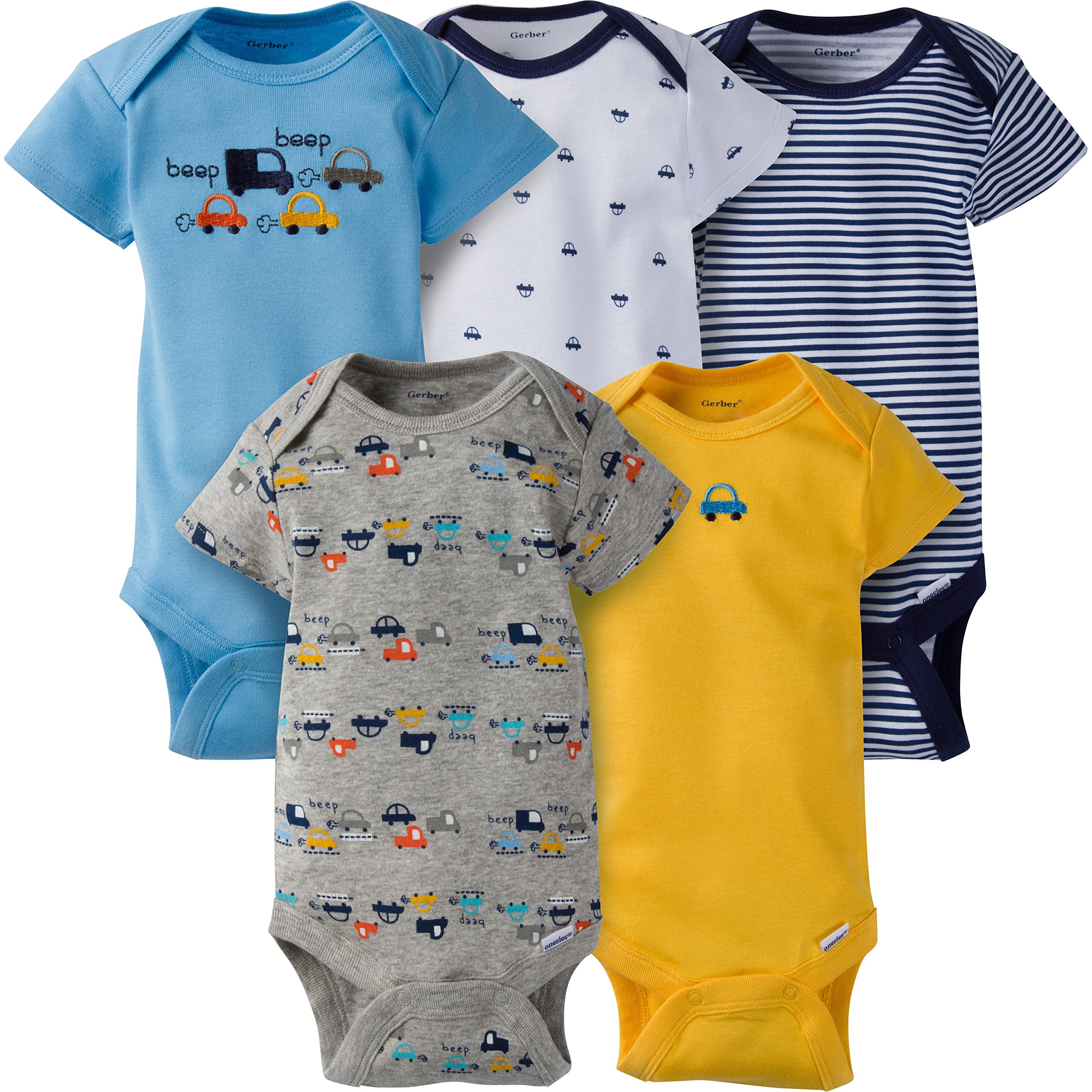 Gerber Baby Boys 5 Pack Onesies, Cars, 0-3 Months
