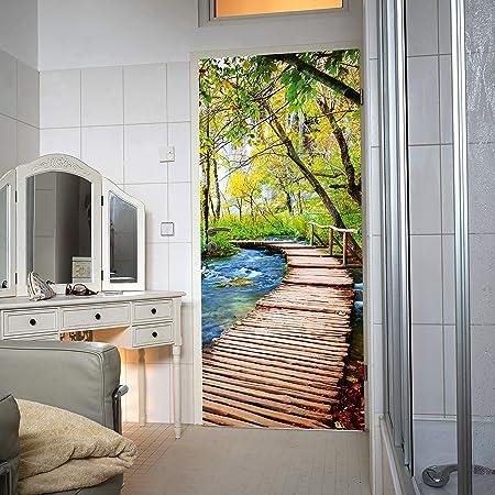 murimage Carta Parati Porta Foresta 86 x 200 cm Poster Wallpaper 3D Bosco Sole Alberi Betulla Legno Erba Natura Entrata Fotomurali Include Colla