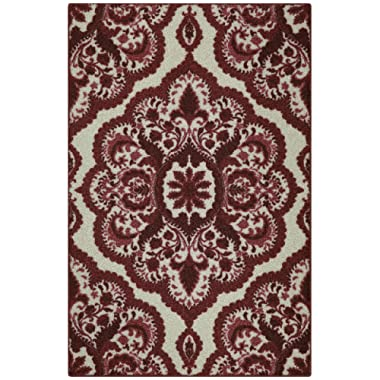 Maples Rugs Kitchen Rug - Vivian 2.5 x 4 Non Skid Small Accent Throw Rugs [Made in USA] for Entryway and Bedroom, 2'6 x 3'10, Garnet Red