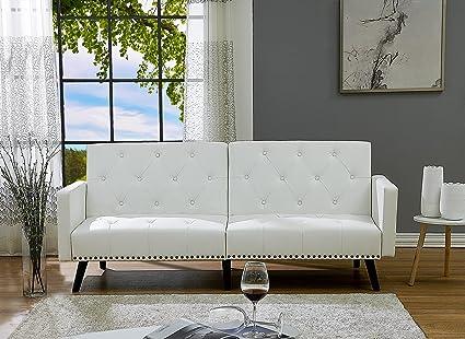 Naomi Home Convertible Tufted Split Back Futon Sofa Faux Leather/White