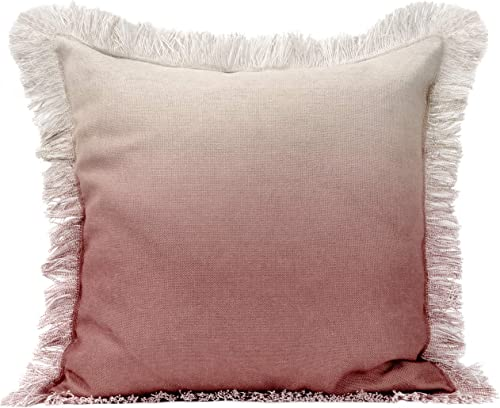Urban Loft by Westex Ombre Fringe Blush Feather Filled Decorative Throw Pillow Cushion 20 x 20
