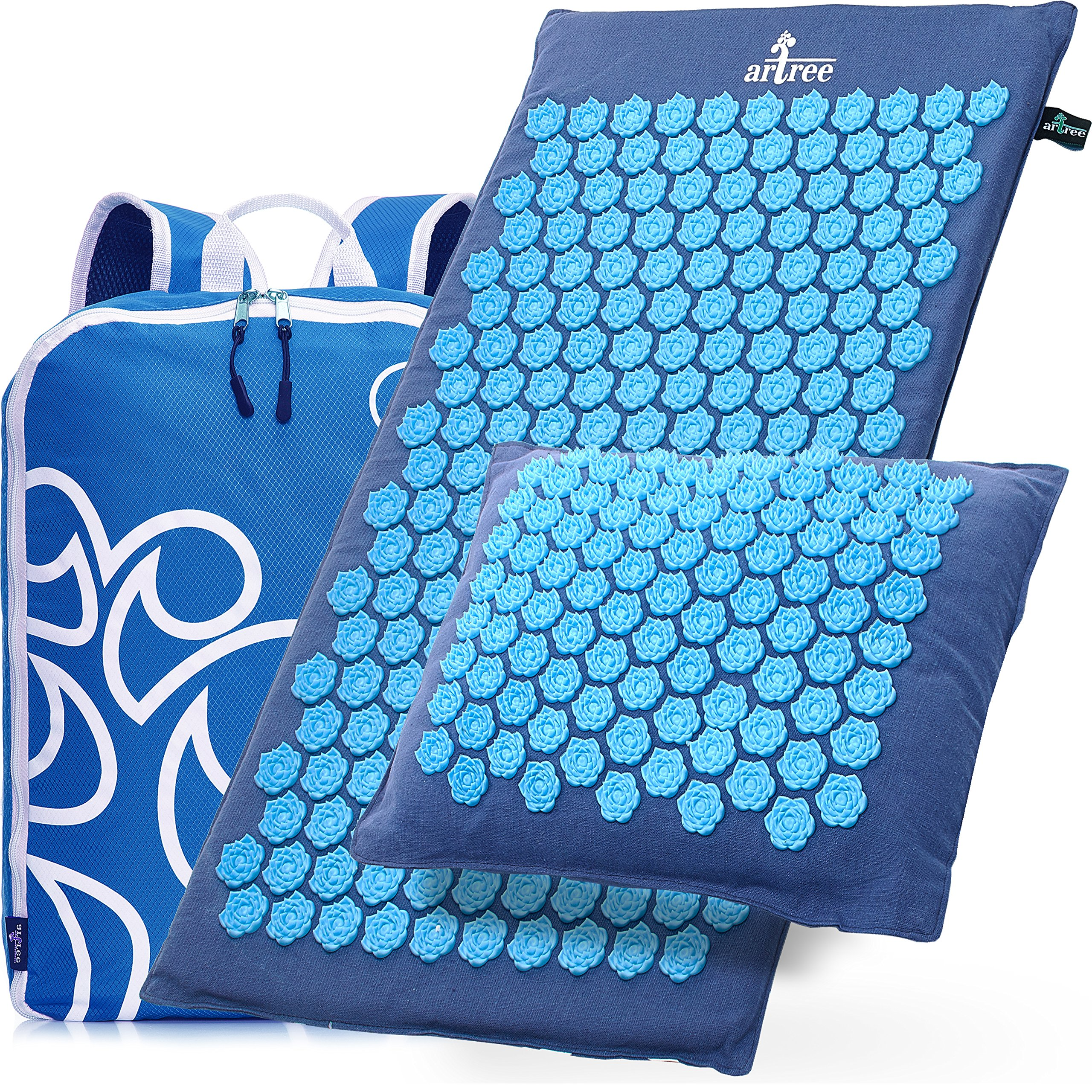 New Version Professional Acupressure Mat and Pillow Set Natural Linen – Best Acupuncture Mat Gift – Back And Neck Pain Relief Reflexology Mat – For Women And Men - Stress and Muscle Relief by Artree (Image #1)