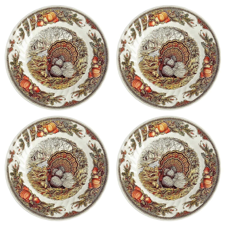 Queen's Myott Harvest Bounty Turkey Dinner Plate Charger - Set of 4 - 12.5