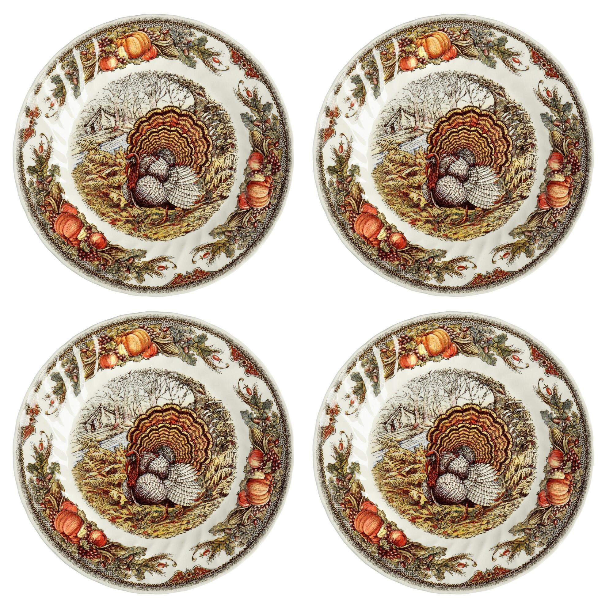Queen's Myott Harvest Bounty Turkey Dinner Plate Charger - Set of 4 - 12.5''