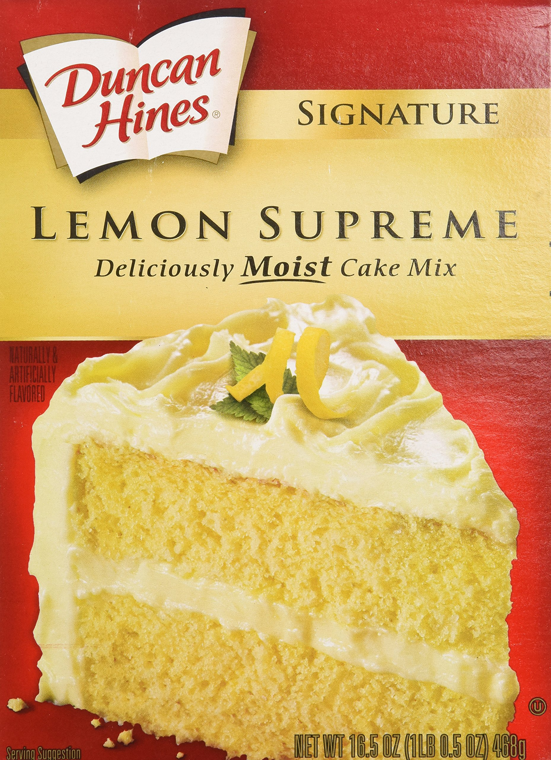 Duncan Hines Cake Mix, Moist Deluxe Lemon Supreme, 16.5 oz (Pack of 12)