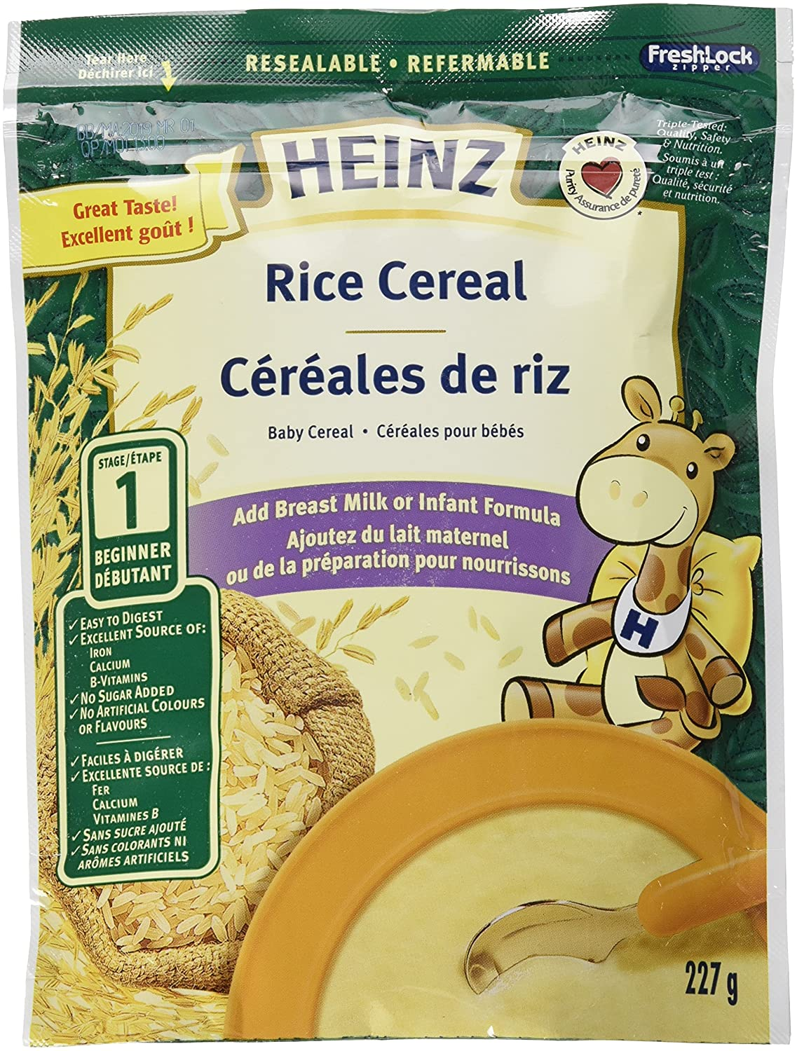 HEINZ Rice Cereal - No Milk, 6 Pack, 227G Each Kraft Heinz Canada ULC
